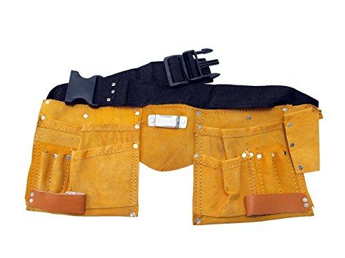 Cinturón portaherramientas de piel con 11 bolsillos