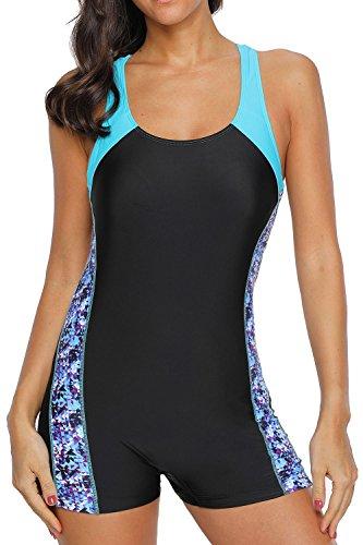 BeautyIn Womens Boyleg One Piece Sports Swimsuit Racerback One Piece Swimwear XL/black/blue