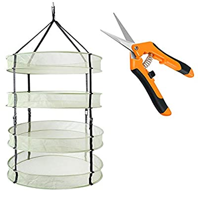 "iPower 2ft 4 Layers Clip on Hanging Collapsible Mesh Hydroponics Herb Drying Rack Net with 6.5"" Stainless Steel Straight Blades Garden Hand Pruning Shears, Orange Pruner"
