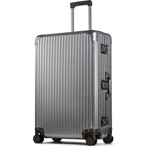 スーツケース アルミマグネシウム合金 アルミニウムボディ 大型 受託手荷物 lサイズ 大容量 キャリーバッグ キャリーケース 8輪 ストッパー (【Lサイズ】ガンメタリック/カーボン)