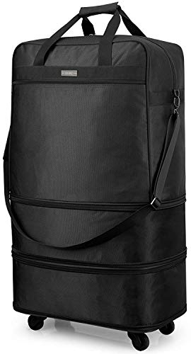 Hanke Luggage Expandable Suitcase Ripstop Rolling Travel Bag Collapsible Luggage Lightweight Foldable Luggage with Spinner Wheels 20/24/28 inch Overnight Weekender Bag without Telescoping Handle,Black