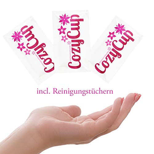 Rosa Menstruationstasse CozyCup CLASSIC – Menstruationskappe klein – aus medizinischem Silikon inkl. Stoffbeutel (Gr 1) - 7