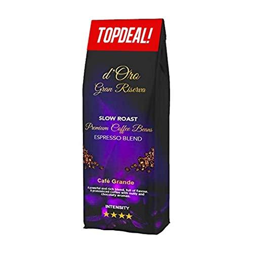 Kaffeebohnen d\'Oro Gran Riserva, 1 kg Bohnenkaffee, Extra langsam geröstet, Espresso für Vollautomaten, kräftig und vollmundig, ganze Bohnen säuerarm