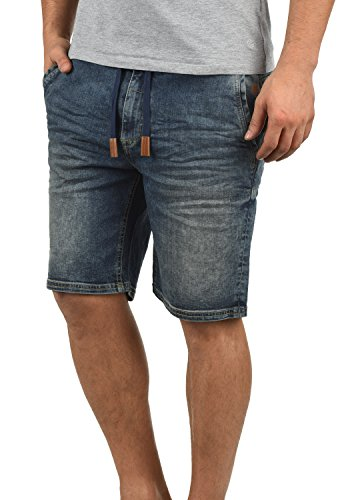 Blend Bartels Herren Jeans Shorts Jogger-Denim Kurze Hose Mit Elastischem Bund Und Destroyed-Optik Aus Stretch-Material Slim Fit, Größe:L, Farbe:Denim middleblue (76201)