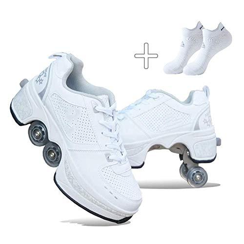 NOLLY Rollschuh Roller Skates Lauflernschuhe,Sneakers,2in1 Mehrzweckschuhe Schuhe Mit Rollen Skateboardschuhe,Inline-Skate,Verstellbare Quad-Rollschuh Stiefel Skateboardschuhe,39