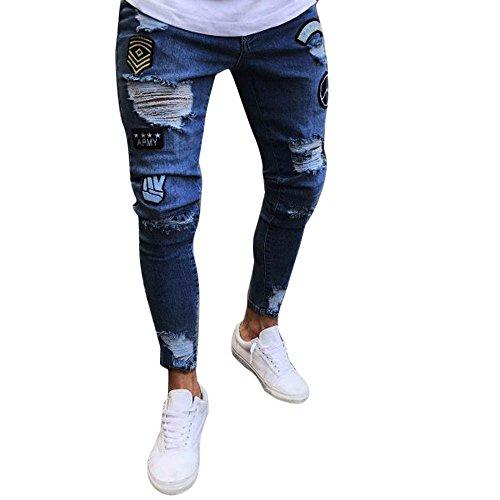 Aiserkly Männer Slim Biker Zipper Denim Jeans Skinny ausgefranste Hose Distressed Rip Hose Dunkelblau XL