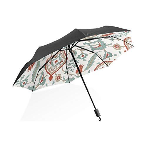 Paraguas Vintage Floral Mandala Rayas 3 Pliegues Ligero Anti-UV