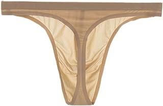 Soojun Men's Traceless Thongs Low Rise Underwear Ice Silk Briefs