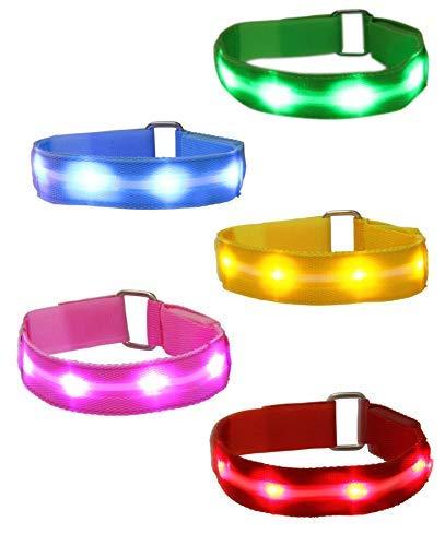 Mosany 5 Pack LED Sports Armband Flashing Safety Light LED Wristband Belt Ankle Band LED Slap Armband Glow Bracelet High Visibility Gear for Running Cycling or Walking at Night (5 Pack Multi-Color)