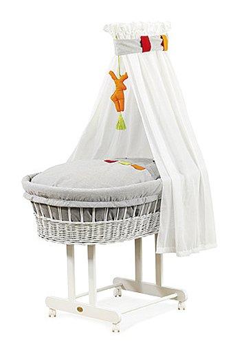 """Christiane Wegner 9019 02-100 - Stubenwagen """"Maxi"""" mit großer Liegefläche, Schwenkräder, behagliche Schlafumgebung für das Baby, Mobilität für die Eltern 83 x 43 cm"""