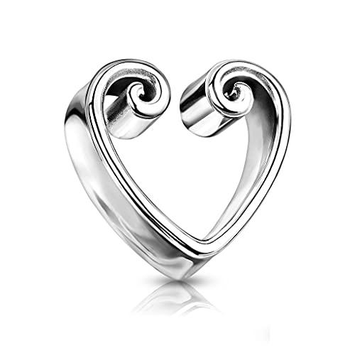 beyoutifulthings Pendiente dilatador de oreja, diseño de corazón vintage, dorado, acero quirúrgico, 8-25 mm, cierre de sillín, 8 mm, Acero inoxidable,
