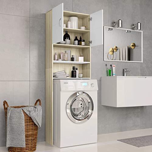 Festnight Armario de Lavadora Aglomerado Mueble para baño con Hueco para Lavadora Mueble Auxiliar para WC Lavadora o Secadora 64x25,5x190 cm