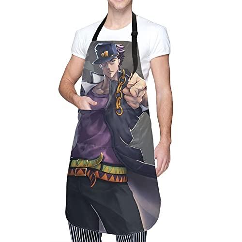 Anime JoJo's Bizarre Adventure Jonathan Joestar - Delantal impermeable con bolsillos ajustable en la cintura circunferencia de la cocina restaurante barbacoa profesional cocina adultos y hombres