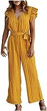 SERYU Women Fashion Stripe Print V-Neck Short Sleeve Playsuit Casual Long Jumpsuit Yellow