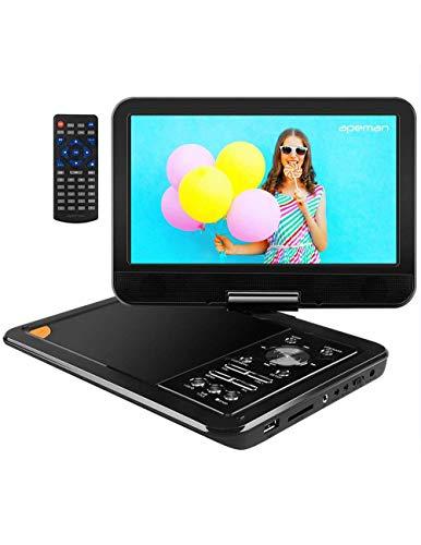 APEMAN Tragbar DVD Player Auto 9,5'' mit 5 Stunden Akku Mobiler DVD Player Potable Drehbarer Unterst?¡ì1tzt SD/USB/AV Out/IN Spiele Joystick (schwarz)