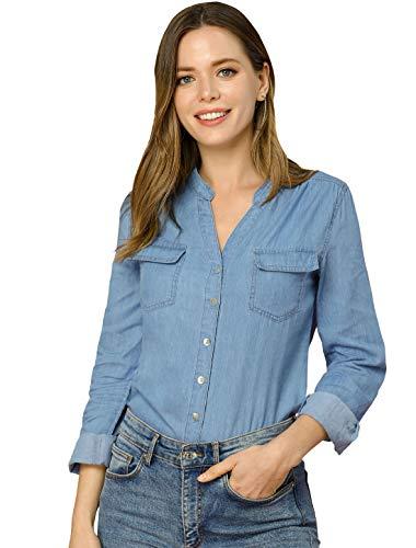 Allegra K Camisa con Botones Tela Vaquera Cuello Alto Partido Manga Larga Bolsillo En El Pecho para Mujer Azul XS
