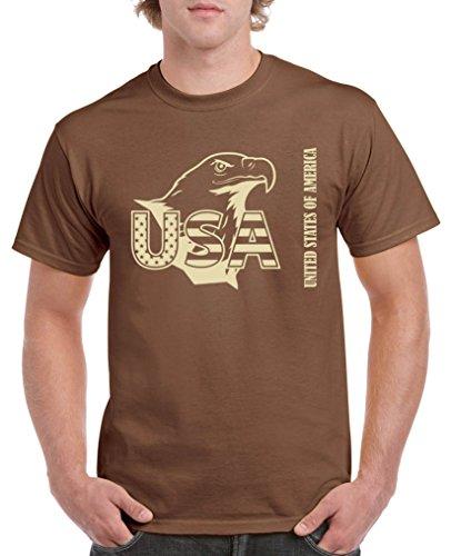 Comedy Shirts - USA Adler - Herren T-Shirt - Braun/Beige Gr. M