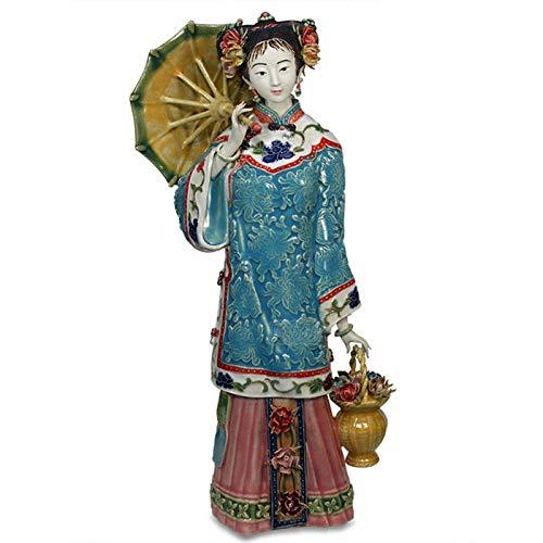 Beeldjes Standbeelden Oude Figuur Bloem Plukken Dame Keramiek Standbeeld Mode Woonkamer Tv-Meubel Klassieke Ambachtelijke Accessoires