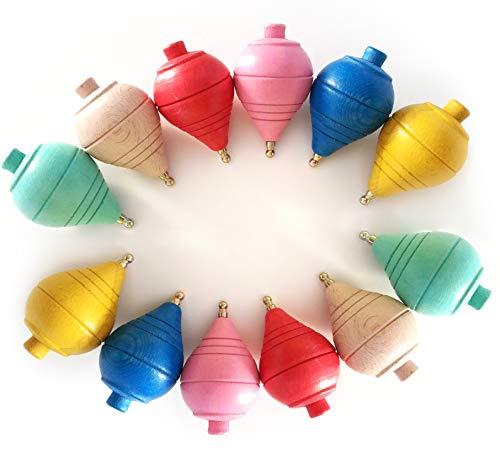 Lote de 12 Peonzas de Madera clásicas de colores - Regalos y Detalles para Comuniones, piñatas, Niños, Niñas, Fiestas de Cumpleaños