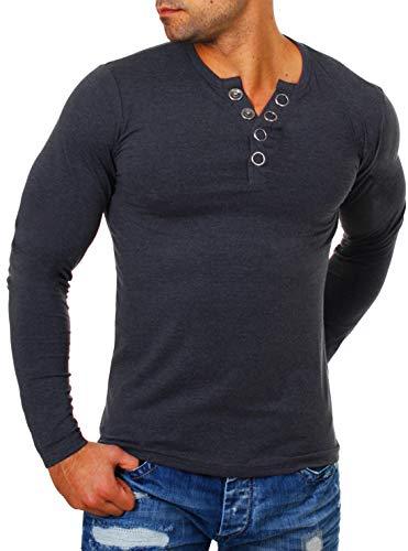 Young & Rich Herren Longsleeve Langarm T-Shirt Knopfleiste mit extra großen Metall Knöpfen Slimfit Big Buttons 2872, Grösse:M, Farbe:Dunkelgrau