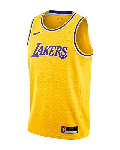 Nike Los Angeles Lakers NBA Boys Youth 8-20 Yellow Blank Wordmark Dri-Fit Team Jersey (Youth Medium 10-12)