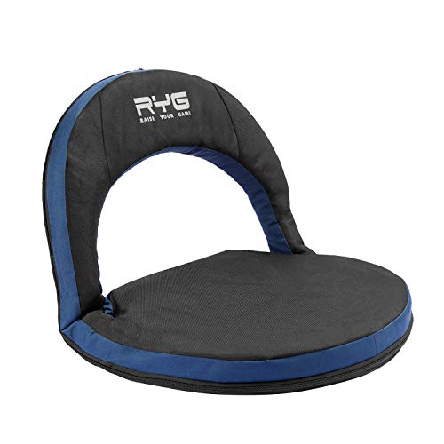Raise Your Game Stadium Seat for Bleachers Portable 6 Position Reclining Back Support Waterproof Chair Lightweight Folding Cushion Shoulder Carry Strap for Easy Transport to Outdoor Events Blue