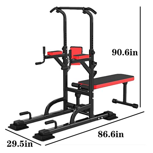 Power Tower Dip Station Workout Pull Up Bar with Weight Bench Adjustable Strength Training Barbell Lifting Stool Multifunction Home Gym Fitness Equipment 441Lbs Fast US 7-10days Delivery (441lbs)