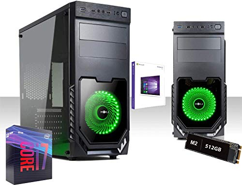 Pc Desktop Gaming Intel I7-9700K 4.9Ghz,Ssd m2 512gb/Ram 16gb Ddr4 2666Mhz,Windows10Pro 64Bit,Wifi 300 Mbps,Editing,grafica,ufficio,lavoro