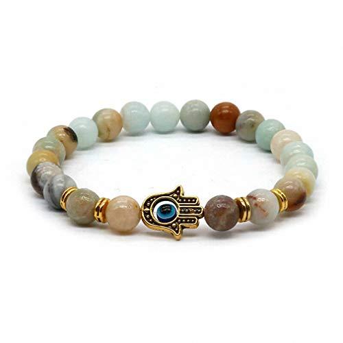 ht bracelets Womens Mens Gold-Color Hand of Fatima Hamsa Hand Bracelet of Mala Black Lava Stone Evil Eye Amulet Bracelets for Men Women HT-5