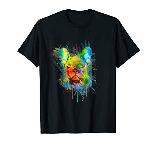Süße Französische Bulldogge im Aquadesign T-Shirt