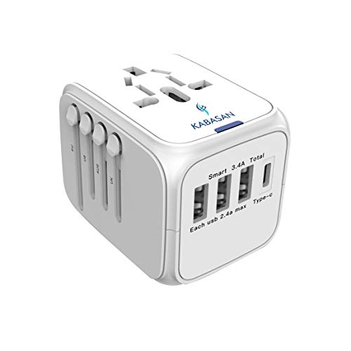 Clearance - International Power Adapter Type C - Universal  Travel Adapter -  International Wall Charger, Power Plug Adapter  with 4 USB Charging Ports For US, UK, AUS, EU