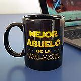 Taza mug Mejor Abuelo de la Galaxia, 33 cl. Taza para desayunos de cerámica negra