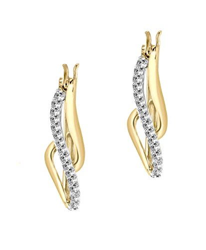Carissima Gold 9ct Yellow Gold 0.12ct Diamond Twist Creole Earrings
