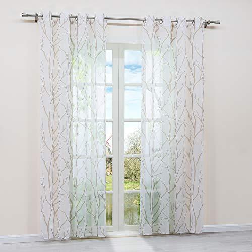 HongYa 1 Stück Ösenschal Transparente Gardine Schal Voile Vorhang mit Ösen Äste Muster H/B 225/140 cm Weiß Sand