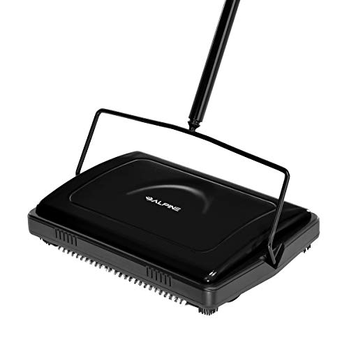 Alpine Industries Triple Brush Floor & Carpet Sweeper – Heavy Duty & Non Electric Multi-Surface Cleaner - Easy Manual Sweeping for Carpeted Floors (Black)