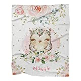 Personalized Woodland Owl Pink Floral Baby Blanket with Name for Girls Boys Custom Nursery Kids Blankets for Baby Shower Birthday Gifts Customized Soft Fleece Throw Tapestry 30 x 40 inch