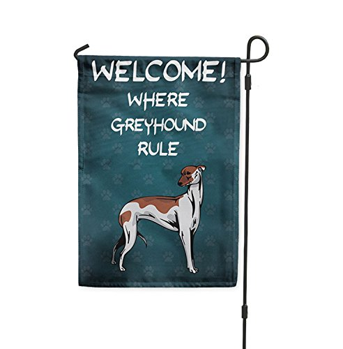 Fastasticdeals Welcome Where Greyhound Dog Rule Yard Patio House Banner Garden Flag w/Stake Flag Only 8