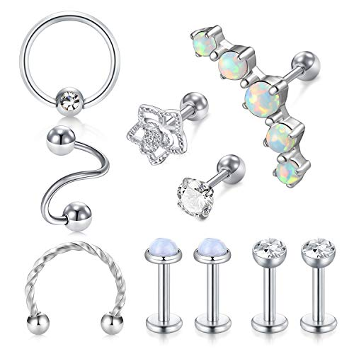 Briana Williams 10stk Helix Knorpel Tragus Ohrring Piercing Set 16G Chirugenstahl Lippe Labret Stecker Ring Ohr Piercing CZ Opal