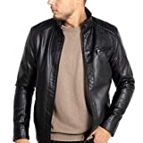 WULFUL Men's Stand Collar Leather Jacket Motorcycle...