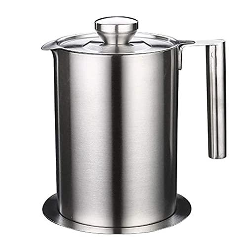JJINPIXIU Oliefilter Olietank, roestvrijstalen filterolietank met filter, gebruikt om frituurolie en bakolie op te slaan, jusolie Vetafscheiderpot voor koken in de keuken