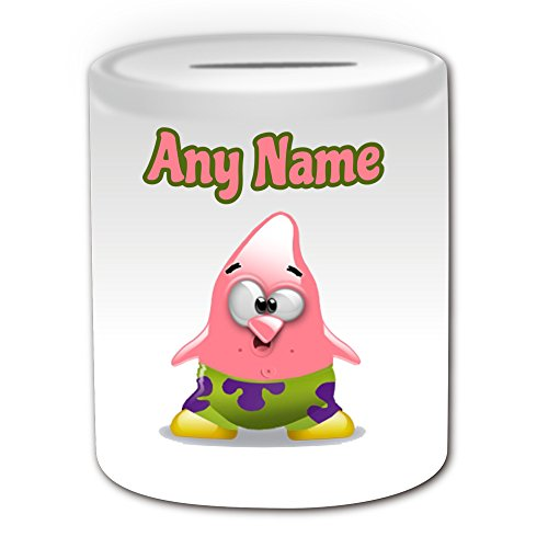 Gepersonaliseerd geschenk - Patrick Star Money Box (Penguin Cartoon Character Kostuum Design Thema, wit) - Elke naam/bericht op uw unieke - opslaan Piggy Bank - dom grappige Novelty Kawaii Humor Anime Animation Film Film Spel Nieuwe kunst Clipart Episode TV Televisie Series Japan Japanse Manga Comedy Strips Boek Disney Tekenen Superheld Spongeo Super Bob SquarePants Zeester Zee
