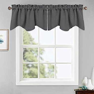 PONY DANCE Grey Scalloped Valances - Window Treatments Kitchen Half Valances Tiers Rod Pocket Curtain Valances Home Decor for Living Room, 42 x 18 inch, Gray, 2 Panels