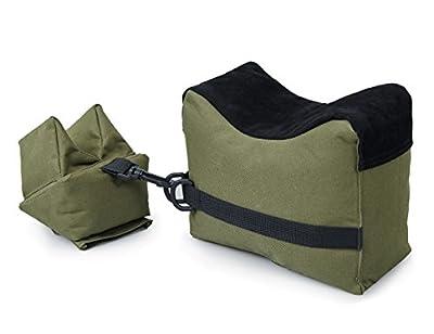VIVOI Unfilled Shooting Rest Bag Front & Rear Bag Rifle Gun Sandbag for Outdoor Shooting (Green + Black)