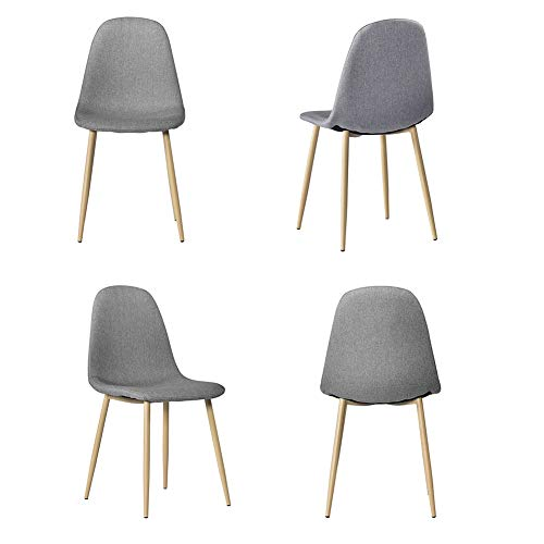 4PCS GREY Retro Tulip Style Dining Chairs with Solid Wood Legs and Padded Seat Lounge Chairs Kitchen Chairs Living Room Chairs Dining Room Furniture