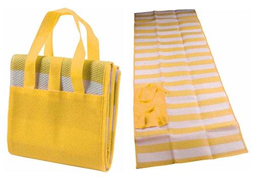 Stuoia ripiegabile 170 x 70 cm con maniglie per mare piscina campeggio (giallo)