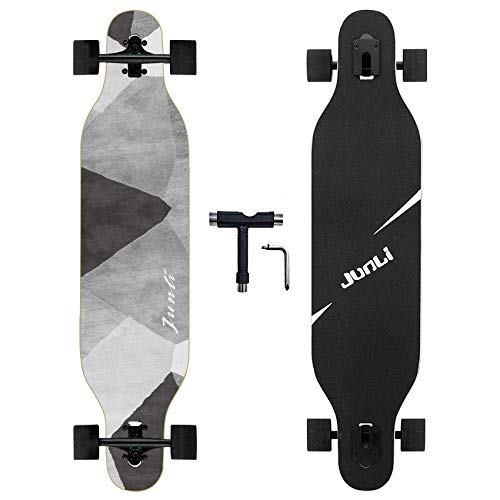 Junli 41 Inch Freeride Longboard Skateboard - Skateboard Cruiser for Cruising, Carving and Downhill(Grey Zone)