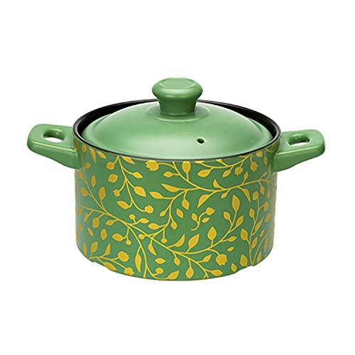 CHUANGRUN Pot, Hogar Verde Binaural Sopa Pot, Olla de leche de una sola manija, Cazuela de cerámica de alta temperatura, Alimentos para 2-3 personas