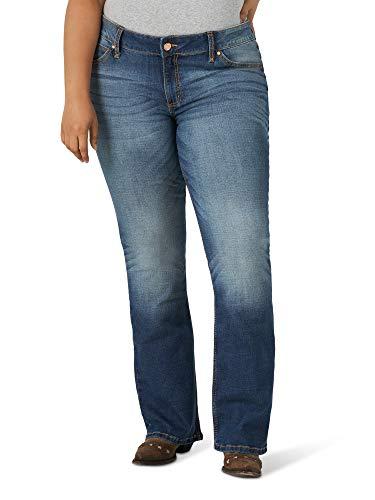 Wrangler Women's Retro Mae Plus Size Mid Rise Boot Cut Jean, Dark Blue, 18W x 32L