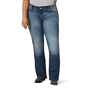 Women's Retro Plus Size Mid Rise Boot Cut Jean