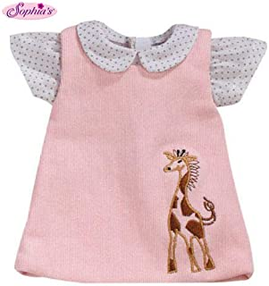 Sophia's 15 Inch Baby Doll Pink Jumper with Giraffe Detail & White Polka Dot Blouse, Fits 15 Inch American Girl Bitty Baby...